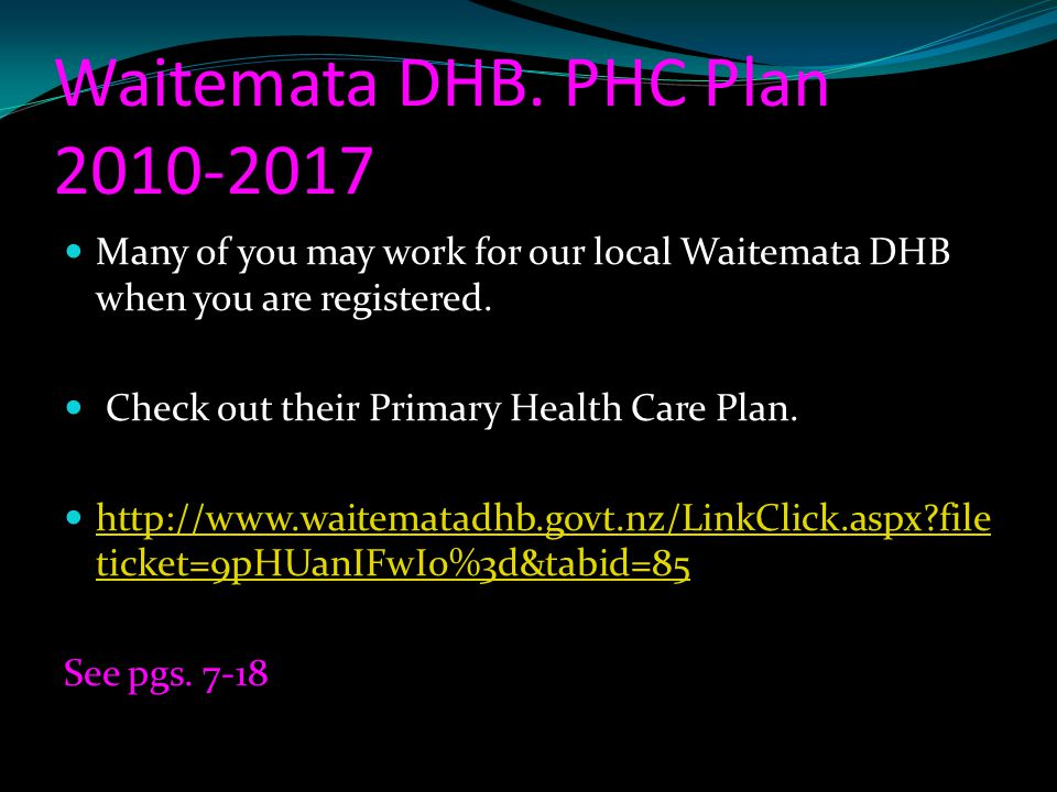 Waitemata DHB. PHC Plan 2010-2017