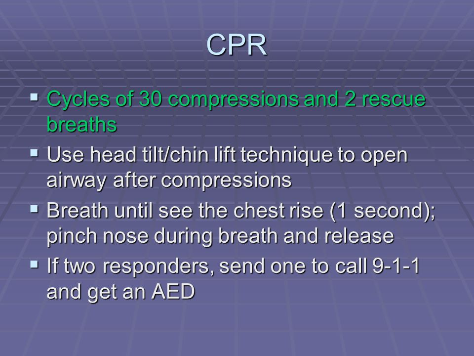 CPR Cycles of 30 compressions and 2 rescue breaths