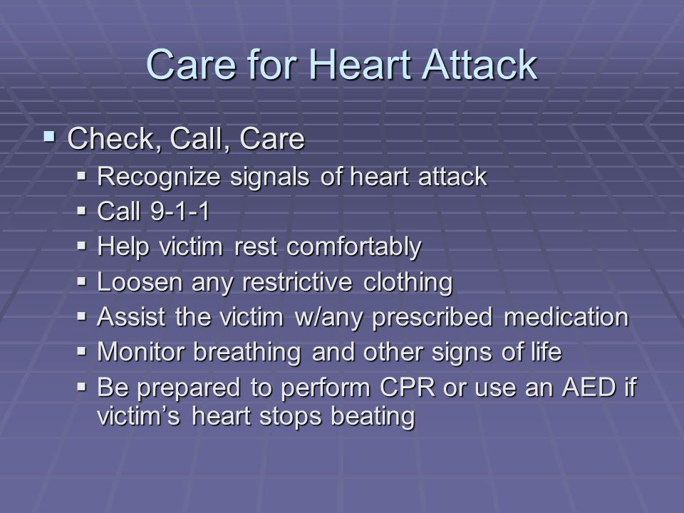 Care for Heart Attack Check, Call, Care