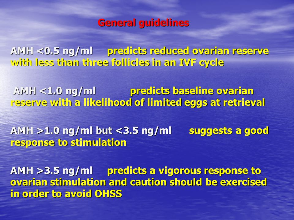 General guidelines AMH <0.5 ng/ml predicts reduced ovarian reserve with less than three follicles in an IVF cycle.