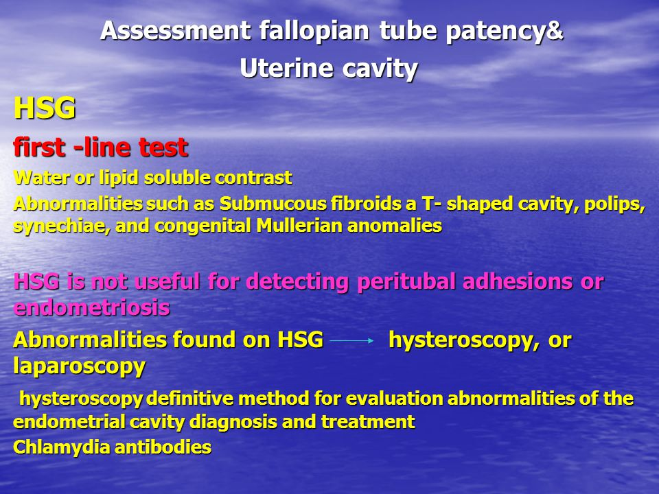 Assessment fallopian tube patency&