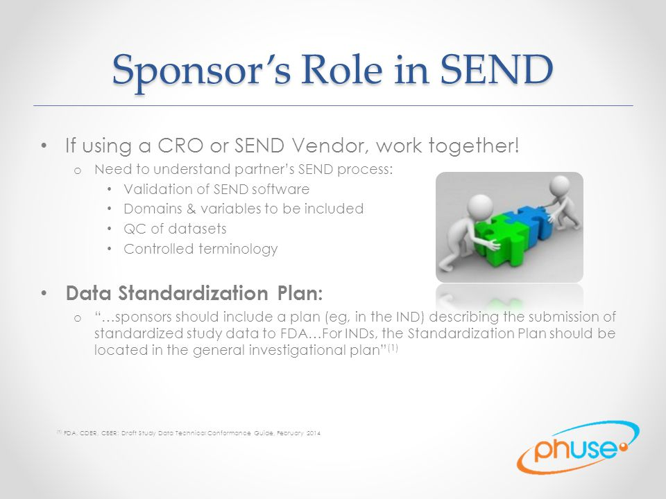 Sponsor's Role in SEND If using a CRO or SEND Vendor, work together!