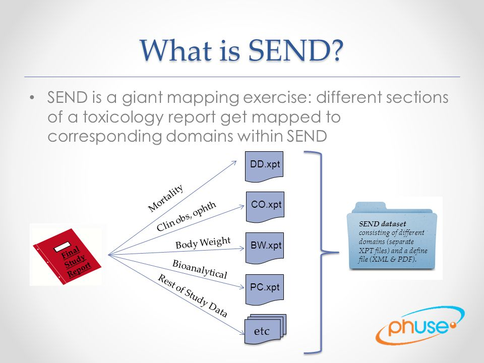 What is SEND SEND is a giant mapping exercise: different sections of a toxicology report get mapped to corresponding domains within SEND.