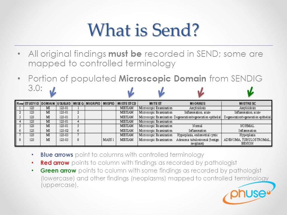 What is Send All original findings must be recorded in SEND; some are mapped to controlled terminology.