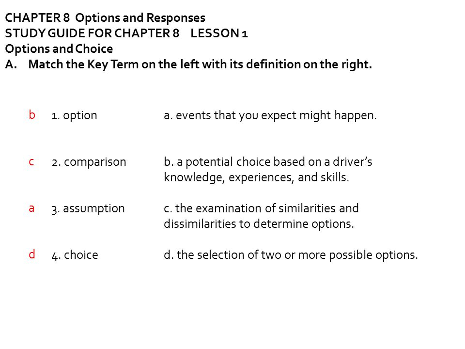 CHAPTER 8 Options and Responses