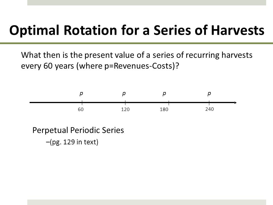 Optimal Rotation for a Series of Harvests