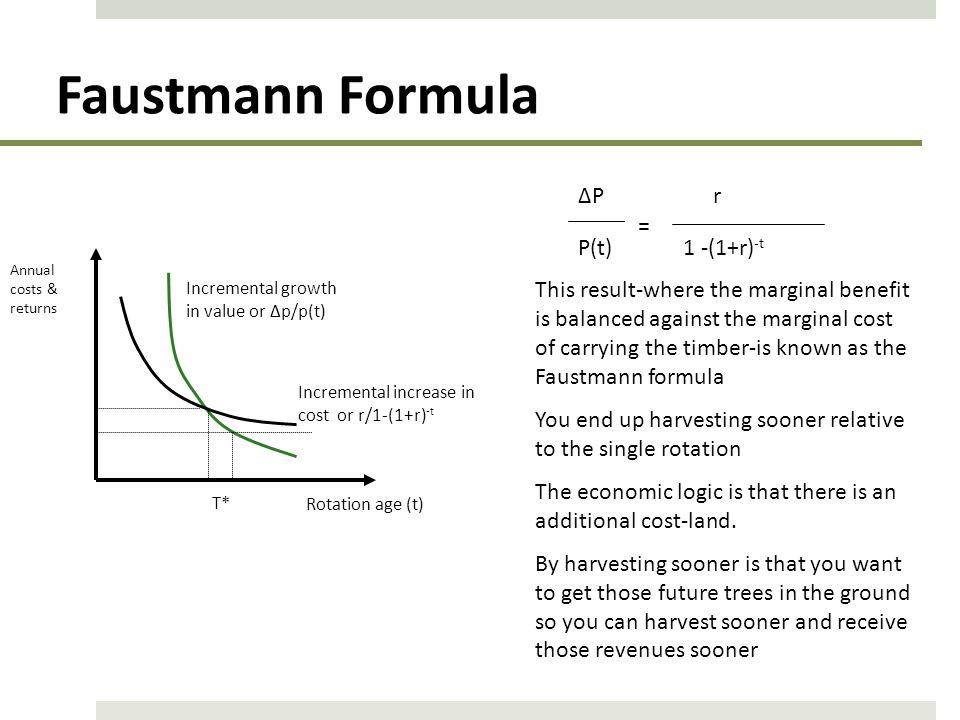 Faustmann Formula ∆P r = P(t) 1 -(1+r)-t