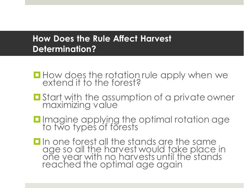 How Does the Rule Affect Harvest Determination