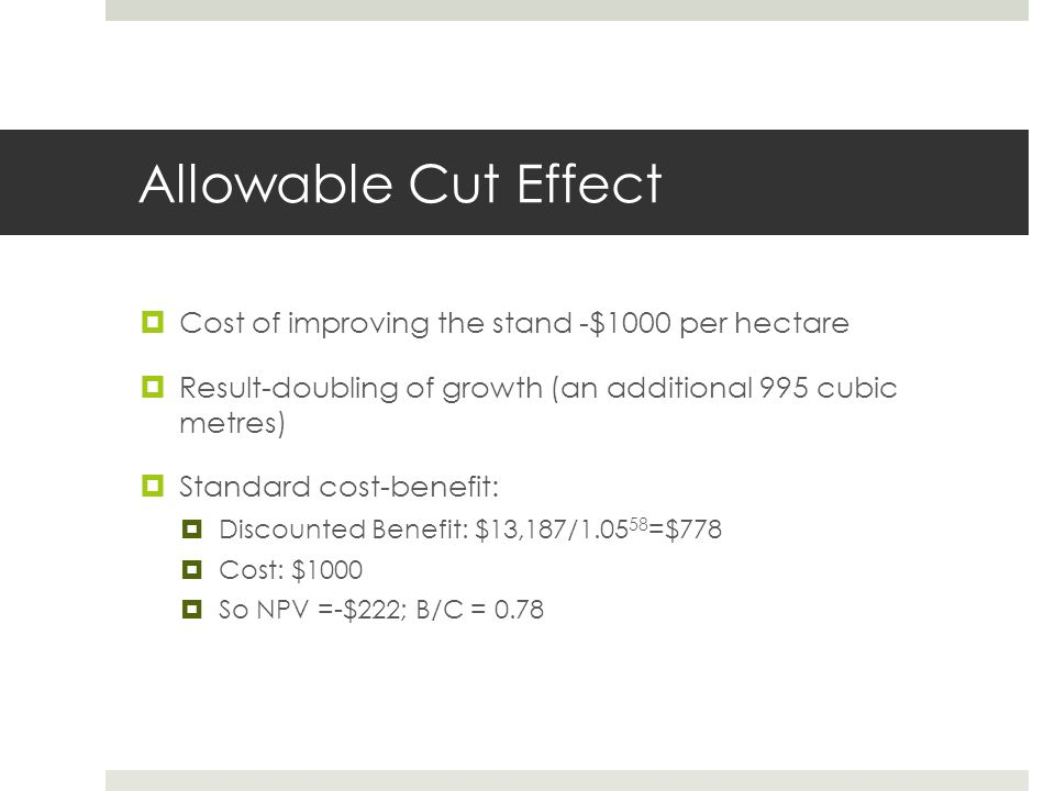 Allowable Cut Effect Cost of improving the stand -$1000 per hectare