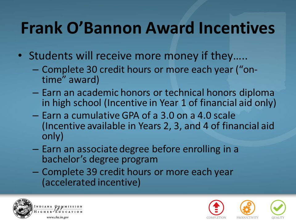 Frank O'Bannon Award Incentives