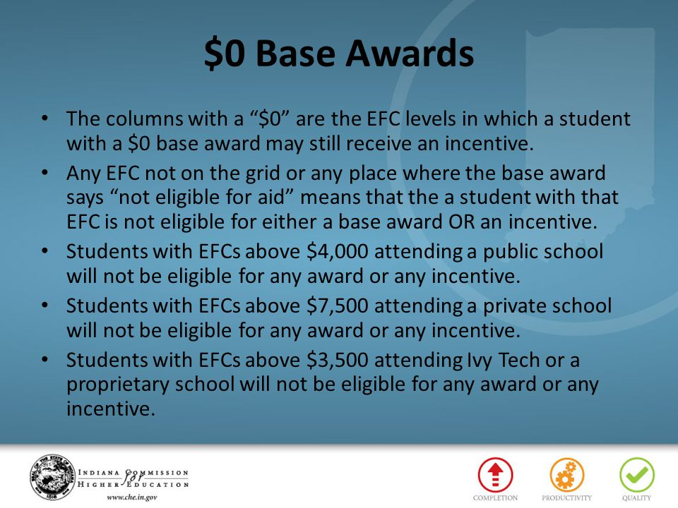 $0 Base Awards The columns with a $0 are the EFC levels in which a student with a $0 base award may still receive an incentive.