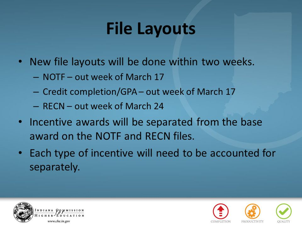 File Layouts New file layouts will be done within two weeks.