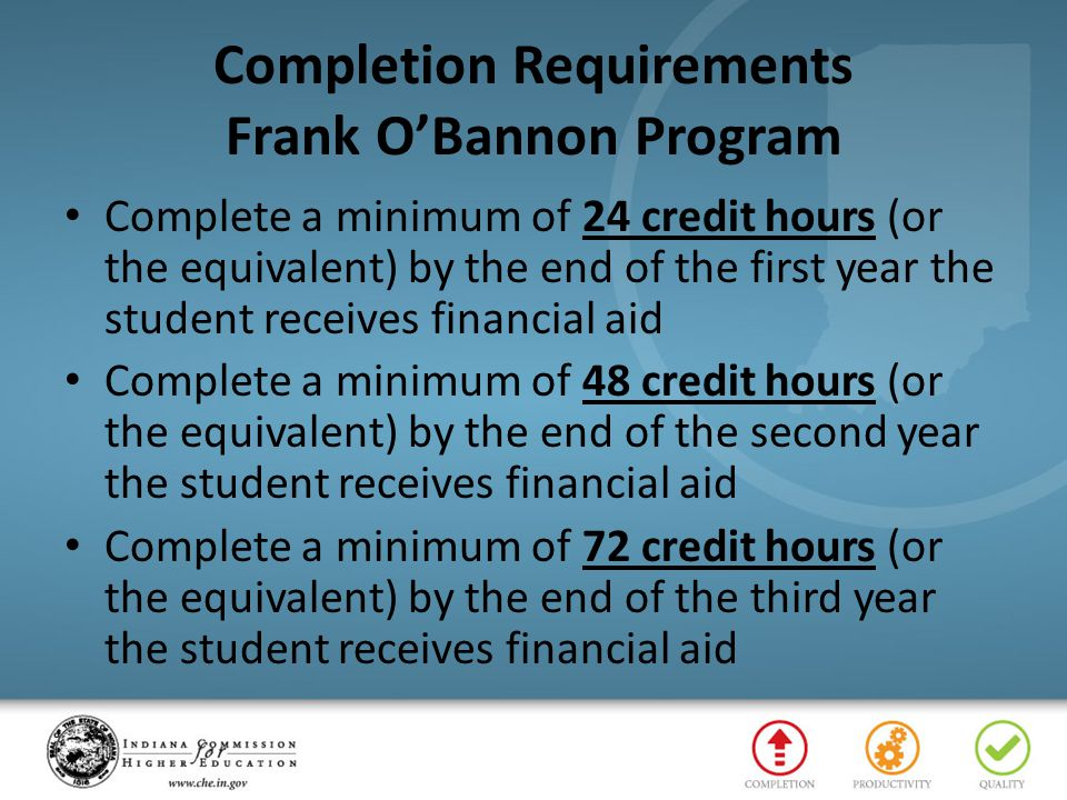 Completion Requirements Frank O'Bannon Program