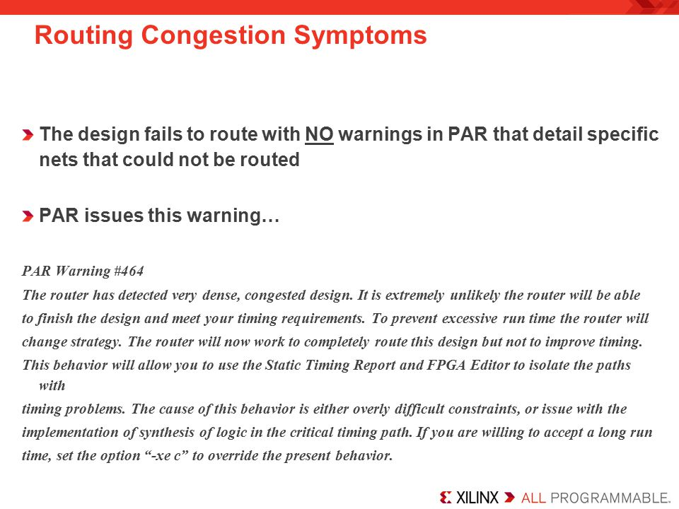 Routing Congestion Symptoms