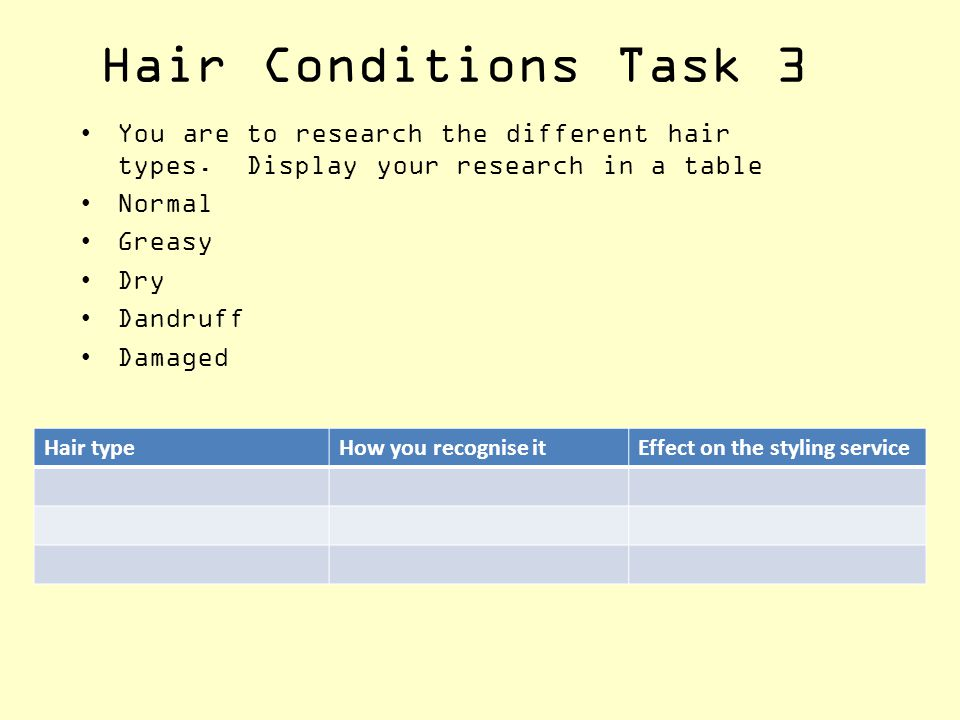 Hair Conditions Task 3 You are to research the different hair types. Display your research in a table.