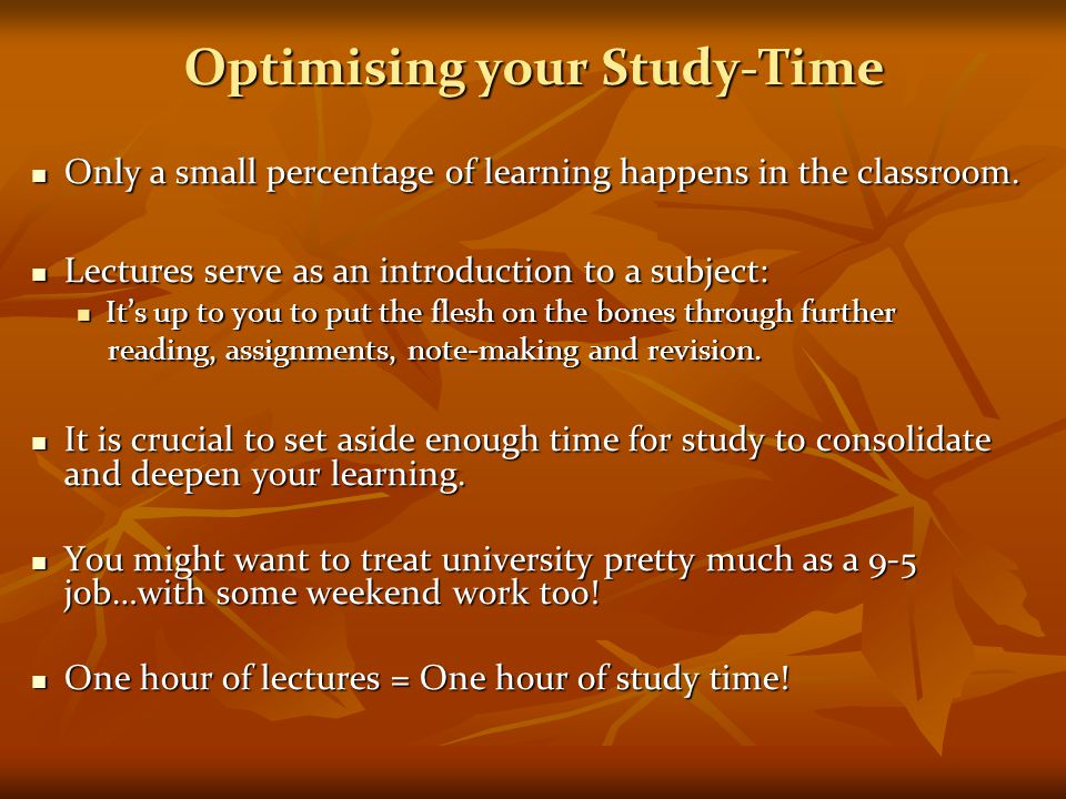 Optimising your Study-Time