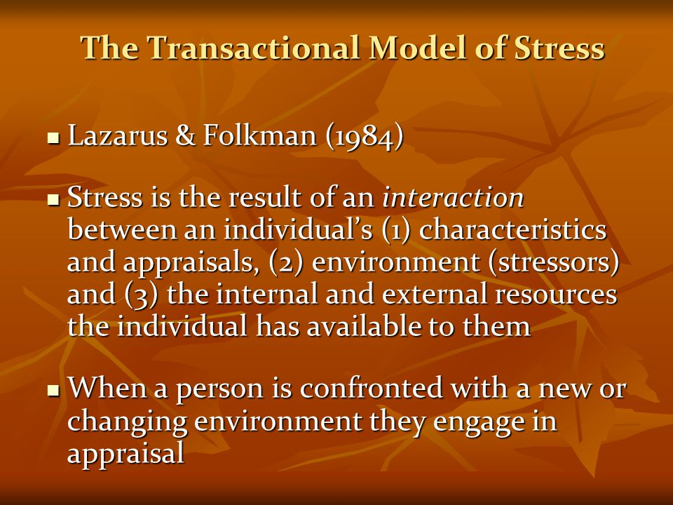 The Transactional Model of Stress