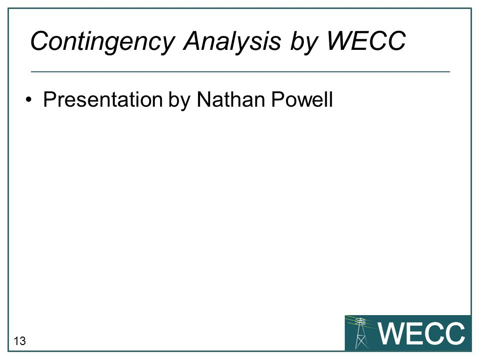 Contingency Analysis by WECC