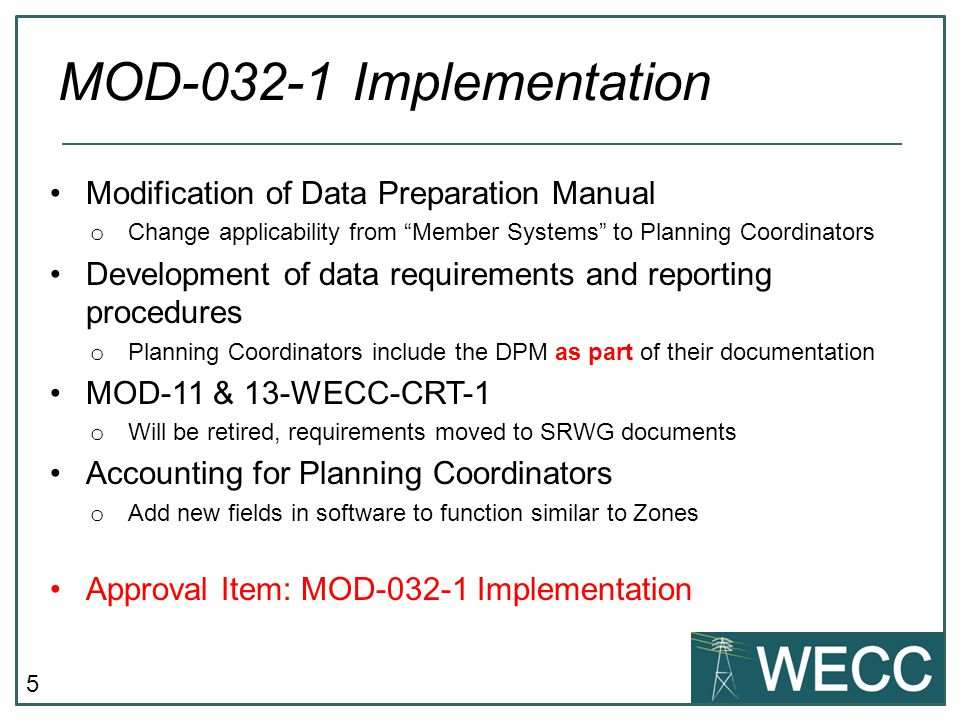 MOD-032-1 Implementation Modification of Data Preparation Manual