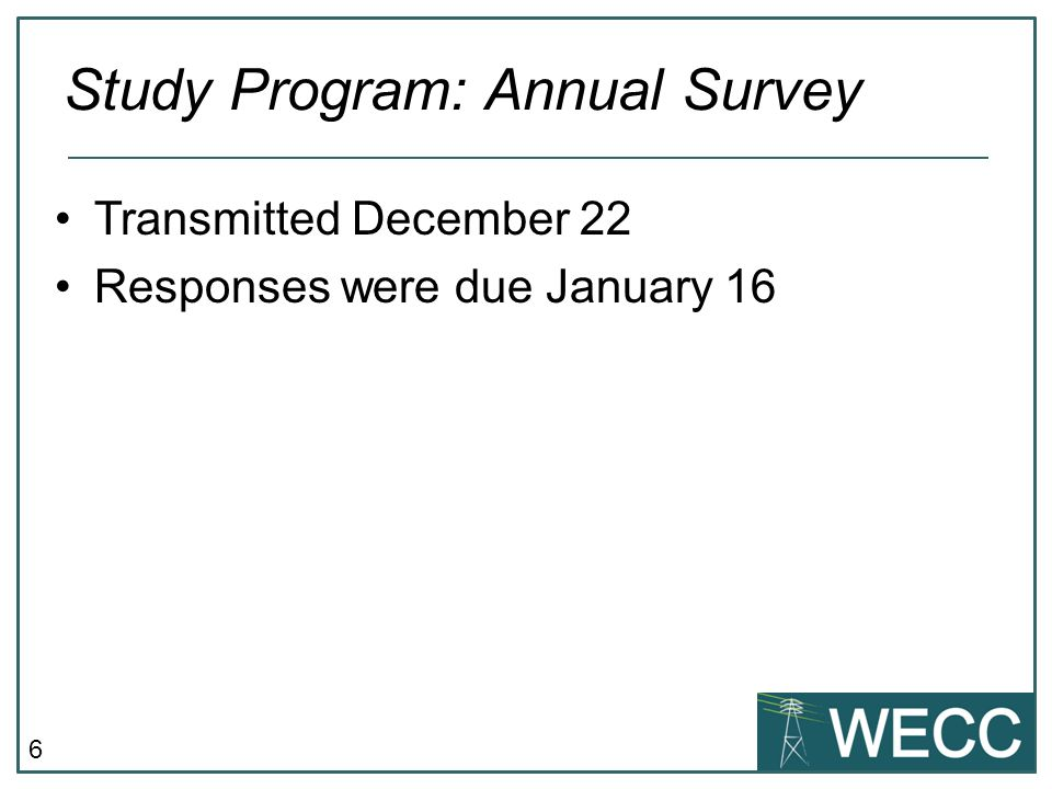 Study Program: Annual Survey