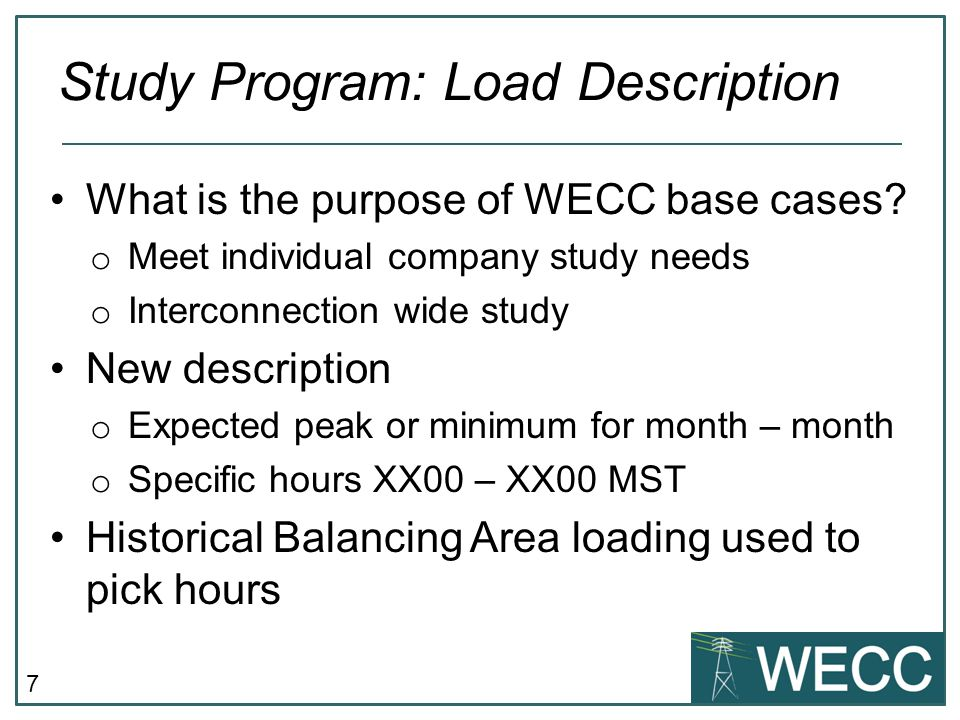 Study Program: Load Description