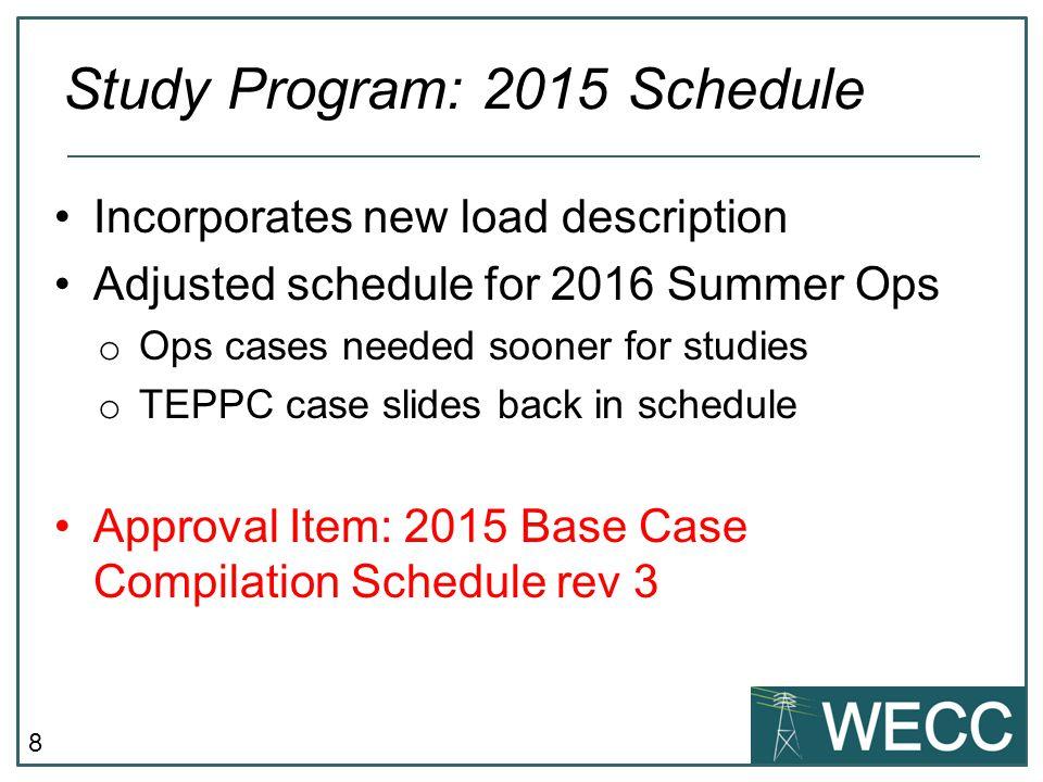 Study Program: 2015 Schedule