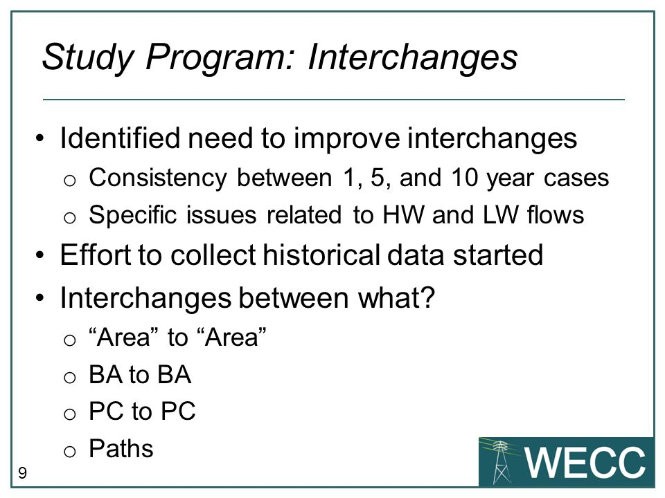 Study Program: Interchanges