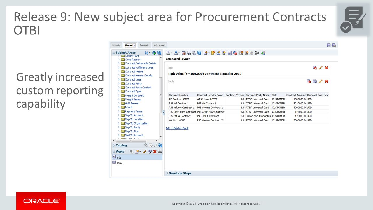 Release 9: New subject area for Procurement Contracts OTBI