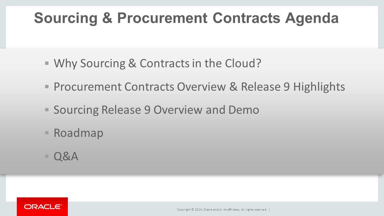 Sourcing & Procurement Contracts Agenda