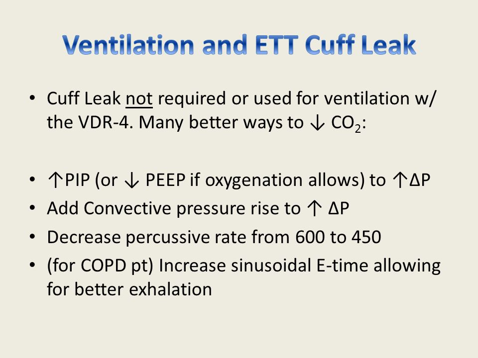 Ventilation and ETT Cuff Leak