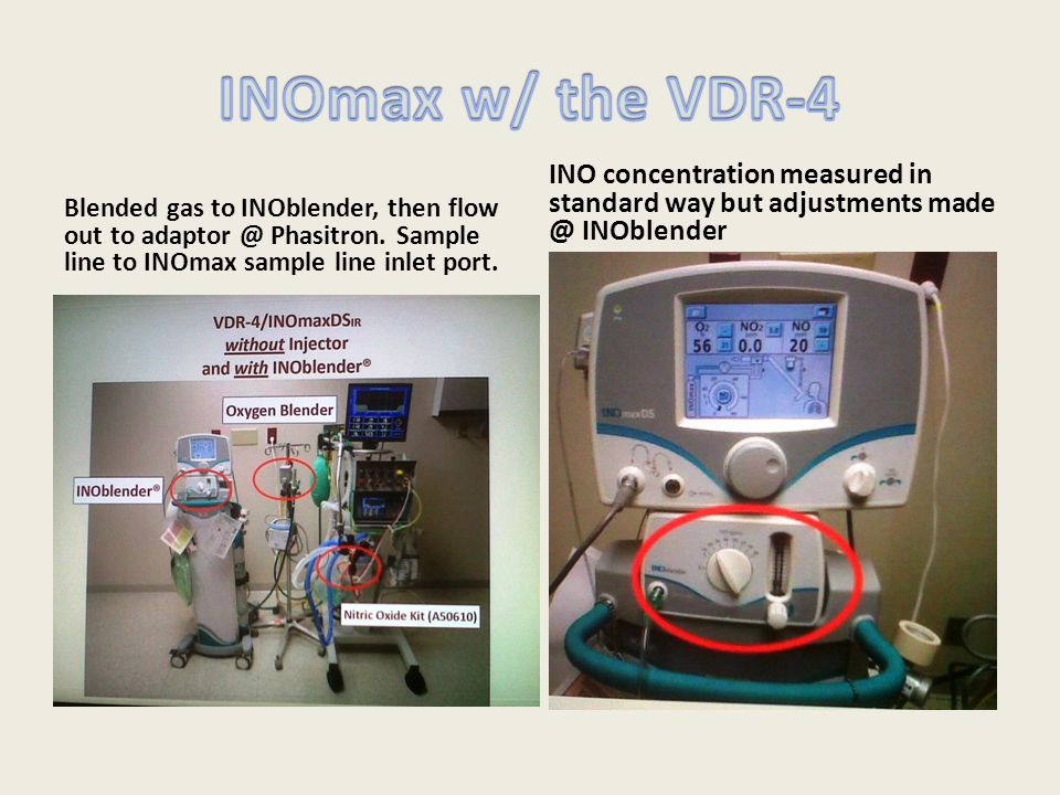 INOmax w/ the VDR-4 INO concentration measured in standard way but adjustments made @ INOblender.