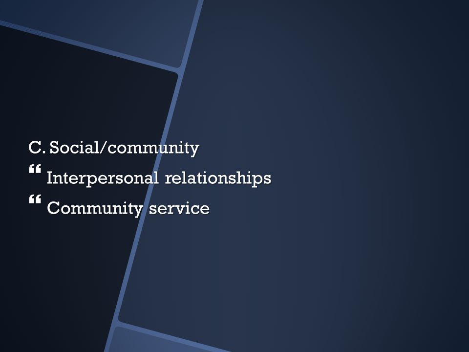 C. Social/community Interpersonal relationships Community service