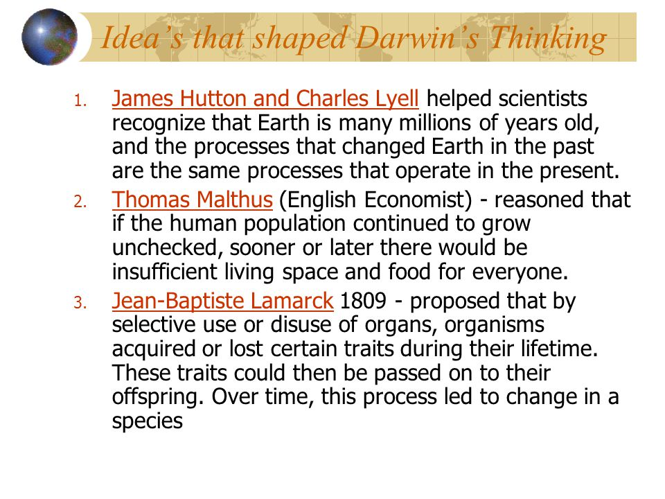 Idea's that shaped Darwin's Thinking