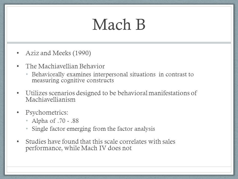 Mach B Aziz and Meeks (1990) The Machiavellian Behavior