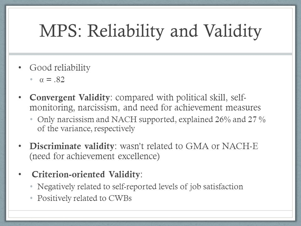 MPS: Reliability and Validity