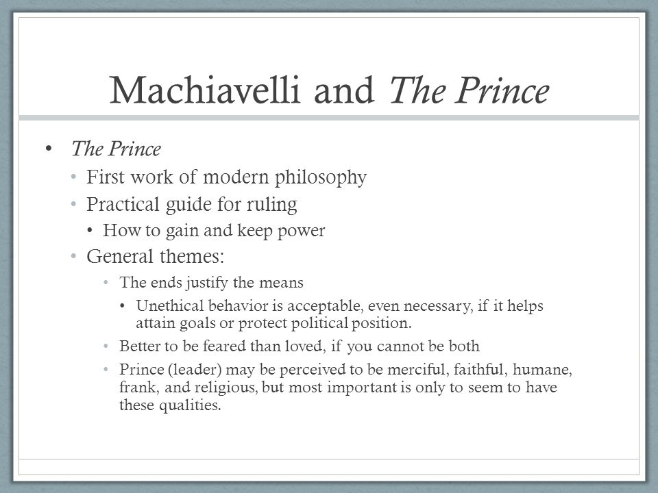 Machiavelli and The Prince