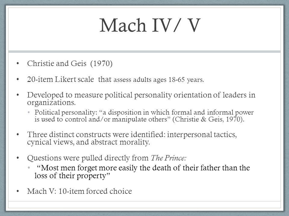 Mach IV/ V Christie and Geis (1970)