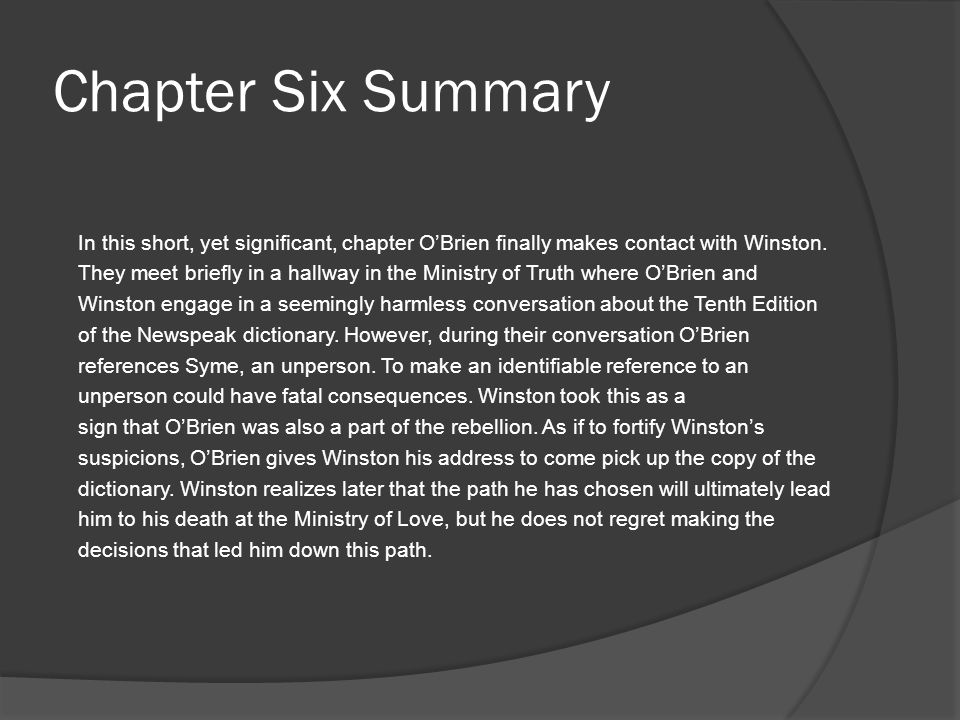 Chapter Six Summary