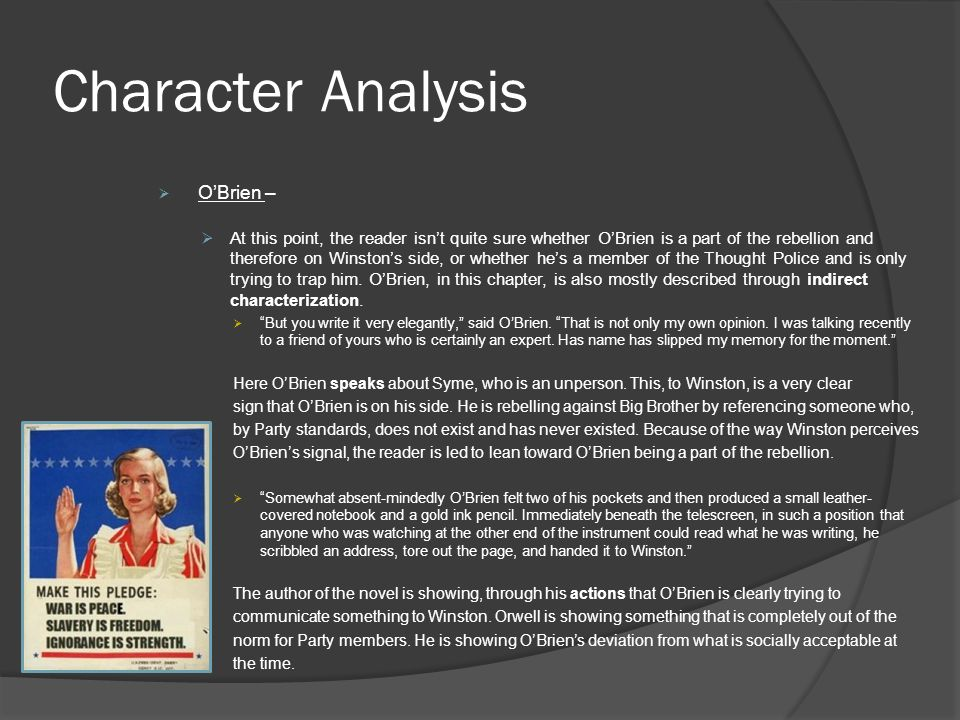 An analysis of the main character by george orwell 1949