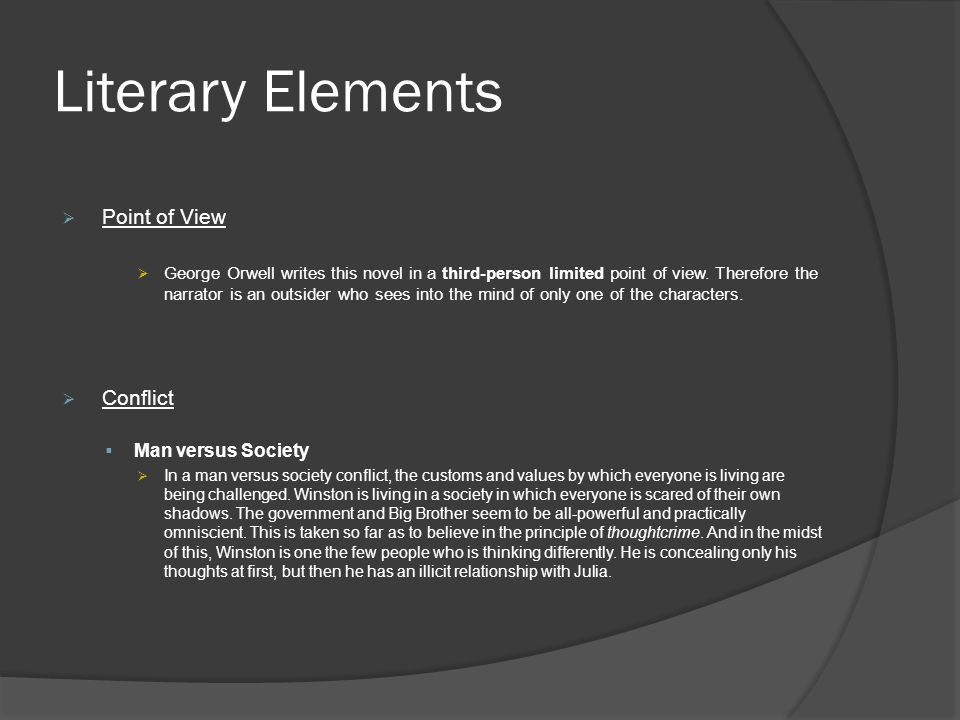 Literary Elements Point of View Conflict Man versus Society