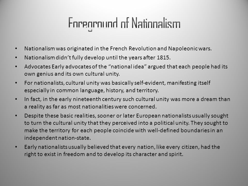 Foreground of Nationalism