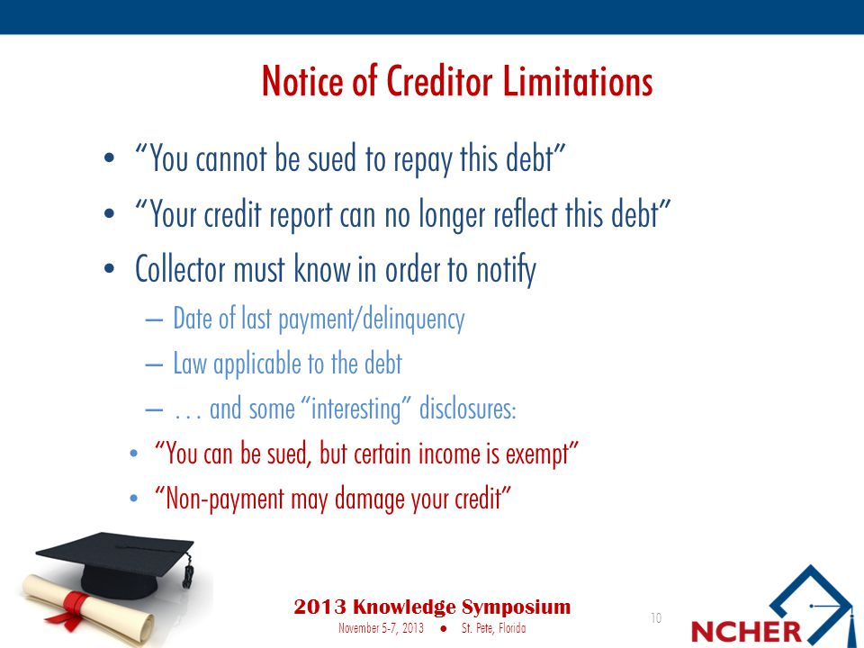 Notice of Creditor Limitations