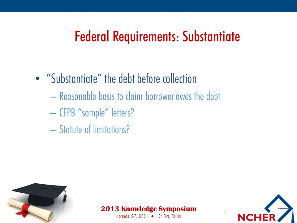 Federal Requirements: Substantiate