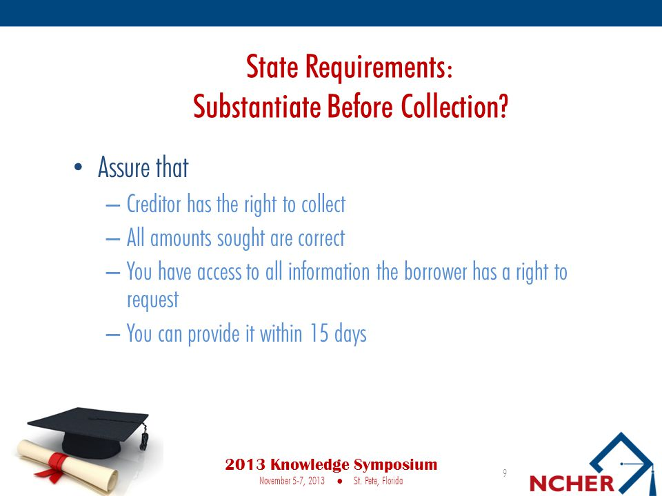 State Requirements: Substantiate Before Collection