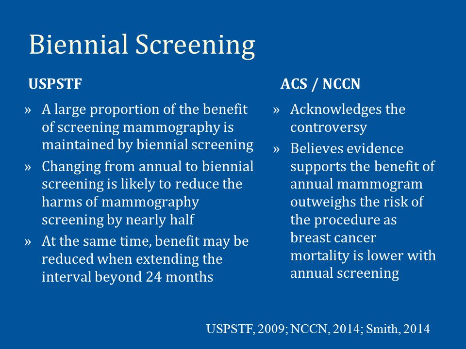 Biennial Screening USPSTF ACS / NCCN