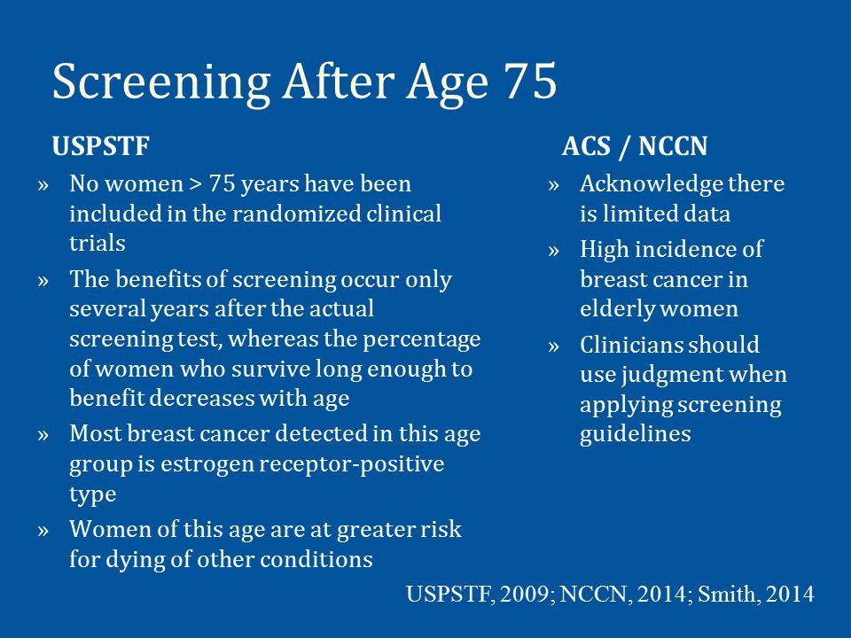 Screening After Age 75 USPSTF ACS / NCCN