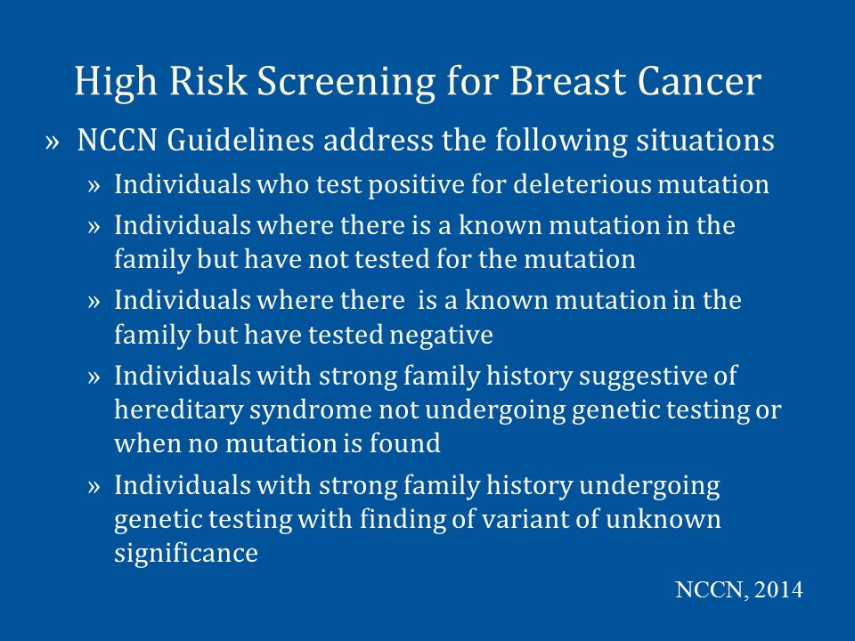 High Risk Screening for Breast Cancer