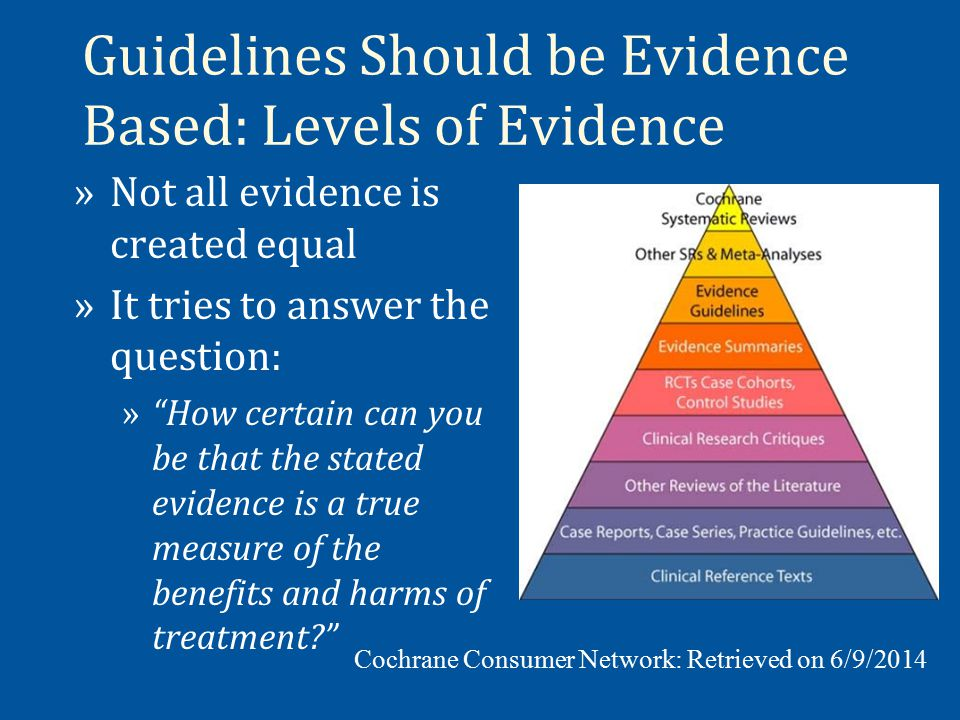Guidelines Should be Evidence Based: Levels of Evidence