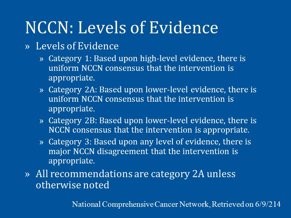 NCCN: Levels of Evidence