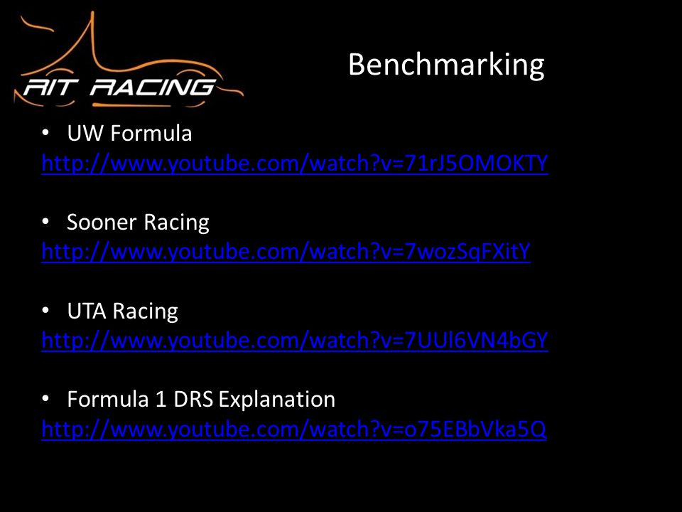 Benchmarking UW Formula http://www.youtube.com/watch v=71rJ5OMOKTY
